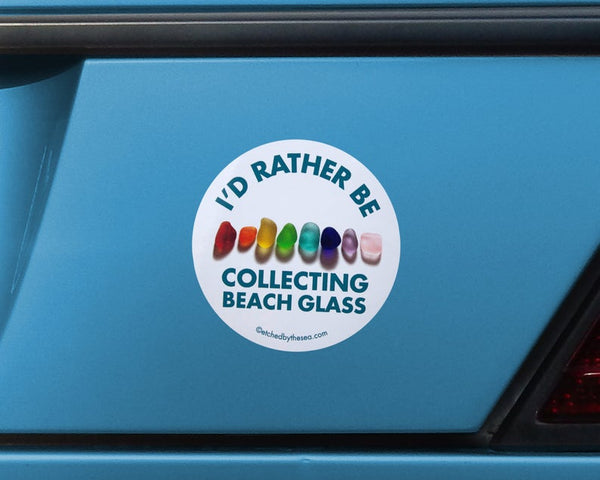 I'd Rather Be Collecting Beach Glass Rainbow Round Bumper/Laptop Sticker