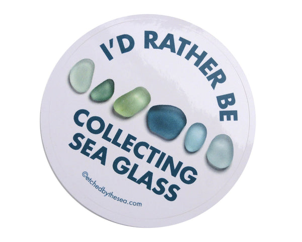 I'd Rather Be Collecting Sea Glass Aqua Glass Round Bumper/Laptop Sticker