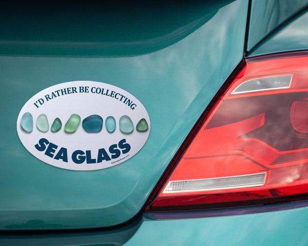 I'd Rather Be Collecting Sea Glass Aqua Glass Bumper/Laptop Sticker