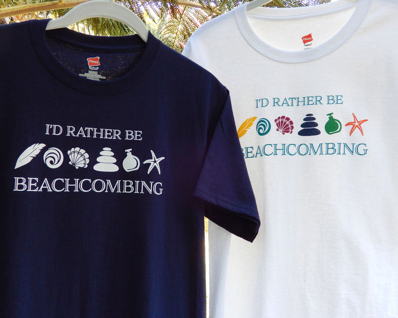 I'd Rather Be Beachcombing Shirt - White or Blue - FREE U.S. Shipping