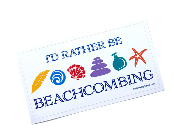 I'd Rather Be Beachcombing Icons Rectangle Bumper/Laptop Sticker - FREE U.S. Shipping