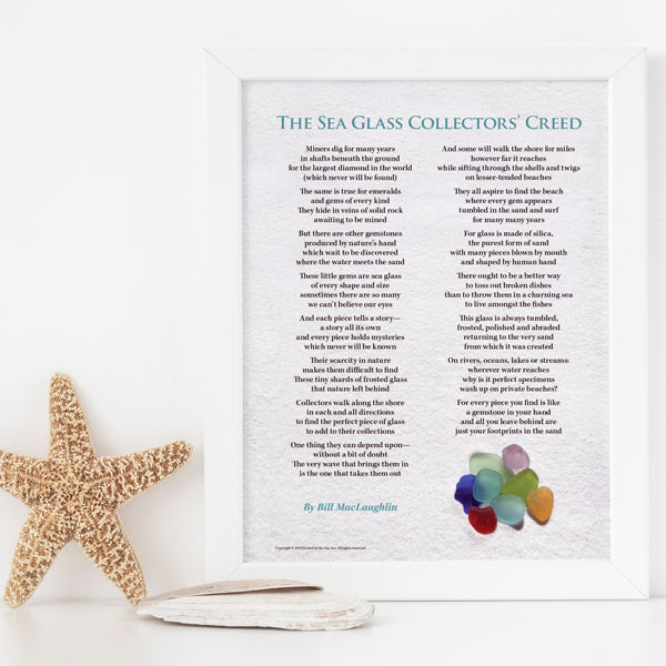 Sea Glass Collectors' Creed - FREE U.S. Shipping