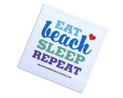 Eat - Beach - Sleep - Repeat Square Laptop or Bumper Sticker - FREE U.S. Shipping