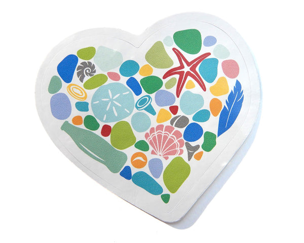 Beachcombing Heart Bumper/Laptop Sticker - FREE U.S. Shipping