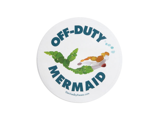 Off-Duty Mermaid Round Laptop or Bumper Sticker - FREE U.S. Shipping