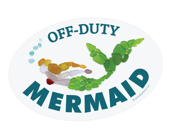 Off-Duty Mermaid Oval Laptop or Bumper Sticker - FREE U.S. Shipping
