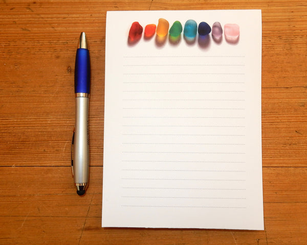 Rainbow Sea Glass Note Pad - FREE U.S. Shipping