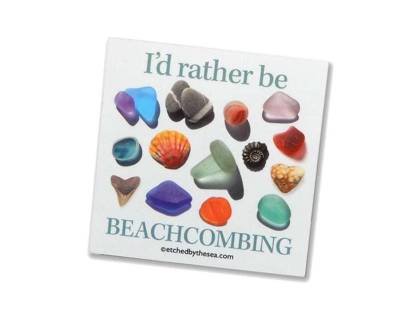 I'd Rather Be Beachcombing Square Bumper/Laptop Sticker - FREE U.S. Shipping