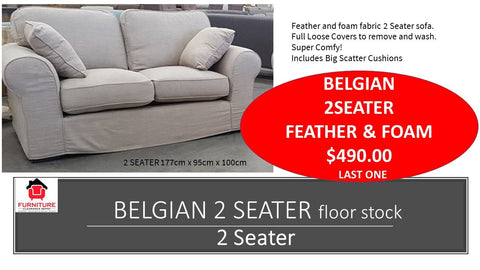 Belgian Loose Cover 2 Seater Sofa