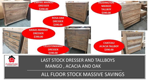 Last Stock Dresser and Tallboys