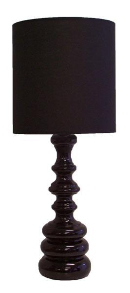 Table Lamp Black Glass and Fabric