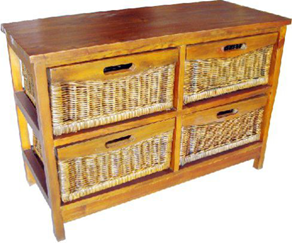 Havana Mango 4 Drawer Wide Cabinet