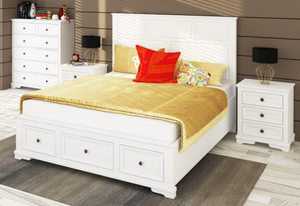 Roma White Wash Ash Queen Bed Package