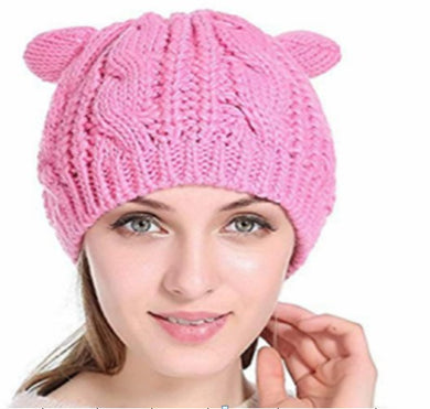 Knitted Beanie with Ears - Pink