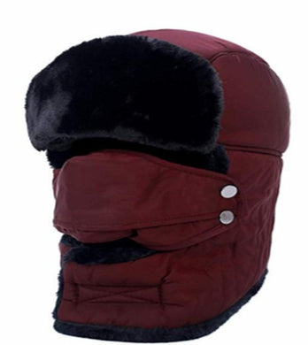 Winter Ear Flap Hat - Burgundy
