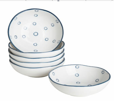 Hoomeet 4 oz Porcelain Ramekins, Mini Bowls for Dessert, Ice Cream and Scauce Dipping, Rocky Round Shaped