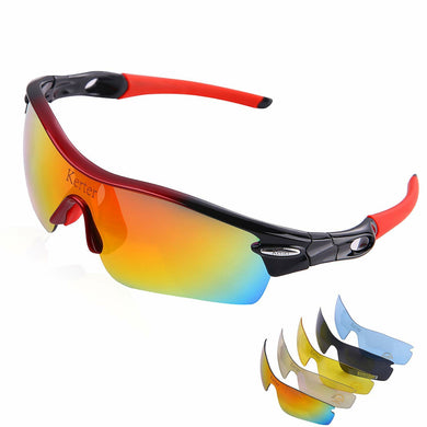 Polarized Sports Sunglasses Driving Glasses UV400 with 5 Interchangeable Lenses for Men Women Cycling Running Driving Fishing Hiking Golf Baseball Glasses Windproof Anti-Fall
