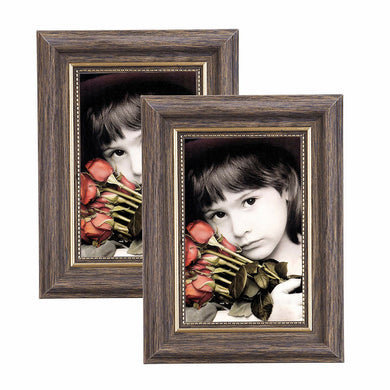 Photo Frame Vintage Portrait Picture Frames 2 Pack Retro Landscape & Horizontal Poster Frame Standing or Wall Mountable, Birthday Gift for Parents Woman Wedding Anniversary Brown