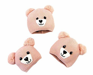 Baby Boys Girls Kids Cute Bear Warm Earflap Cap Winter Knit Hat Warm Earflap Cap