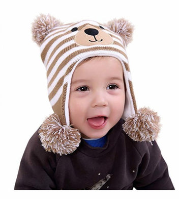 Baby Boys Girls Cute Bear Hats Infant Winter Warm Knit with Earflaps Beanie Hat Cap