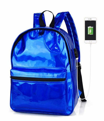 Oops Style Women Hologram Transparent Mirror Face Laser School Backpack Daypack