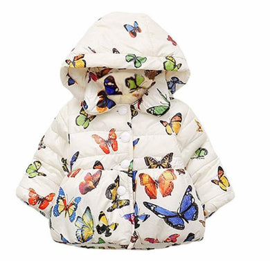 DHASIUE Baby Girls Butterfly Print Hoodies Jacket Toddler Kids Long Sleeve Winter Outerwear Warm Coat 0.5 1 2 3 4 T