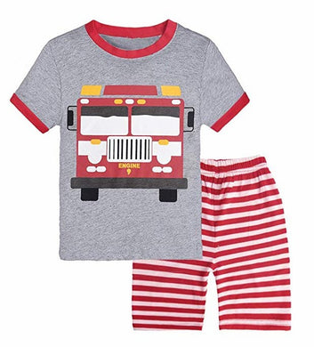 Little Boys Short Set Pajamas for Boys 100% Cotton Toddle Firetruck Dinosaur Sleepwear Summer Clothes Size 2-7T