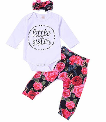 Outfit Baby Boy Girl Romper Flower Pant with Hat Clothes Set
