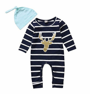 Christmas Newborn Baby Rompers Pants Hat Pajama Outfits Set