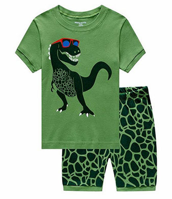 DDSOL Boys Shorts Pajamas Toddler Summer Clothes Dinosaur Print Cotton Sleepwear 2 Piece Kids Pjs Size 2T-7T