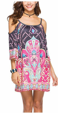 DDSOL Women's Bohemian Ethnic Spaghetti Sundress Cold Shoulder 3/4 Sleeve Beach Short Dress