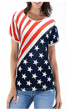 DDSOL Women American Flag 4th July Shirt Patriotic Short Sleeve Loose Tops S-XXL
