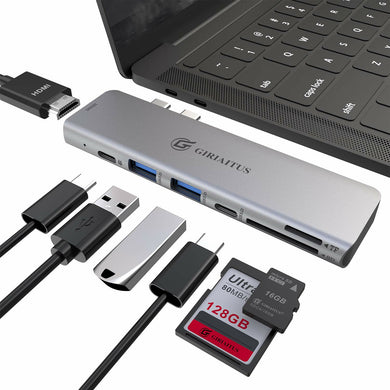 USB C Hub, GIRIAITUS 7in 2 Type C Multiport Adapter with 4k USB-C to HDMI, 60W PD Charging Port, USBC 5Gbps Data, microSD/SD Reader, 2 USB 3.0 Compatible with MacBook Air, MacBook Pro 2017/2018