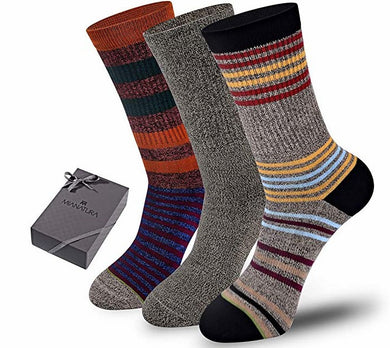 Mianatura Funky Crew Socks Striped Cotton Socks Ribbed Pattern Socks Unisex Dress Socks 3-Pack