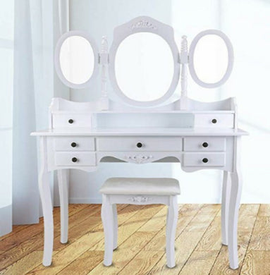 makeup table with 7 drawers/white