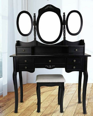 makeup table with 4 drawers/black