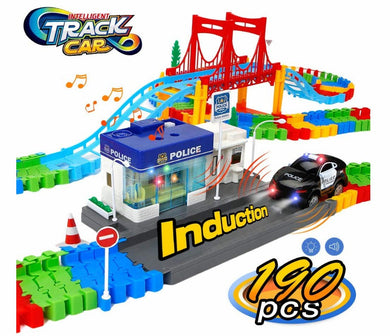 URTOYPIA Race Tracks for Boys, 190Pcs Smart Police Station Track Toys Set with Light up Police Car Toy Flexible Race Track Building Playset for Toddlers Kids Girls