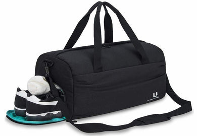 Sports Gym Bag with Shoes Compartment Waterproof Gym Duffel Bag Travel Duffel Bag for Men and Women - Black