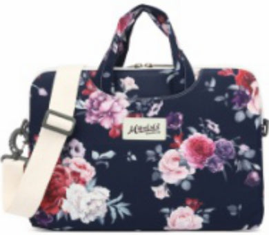 Mikelala Black-Rosa Pattern laptop shoulder bag 13 inch