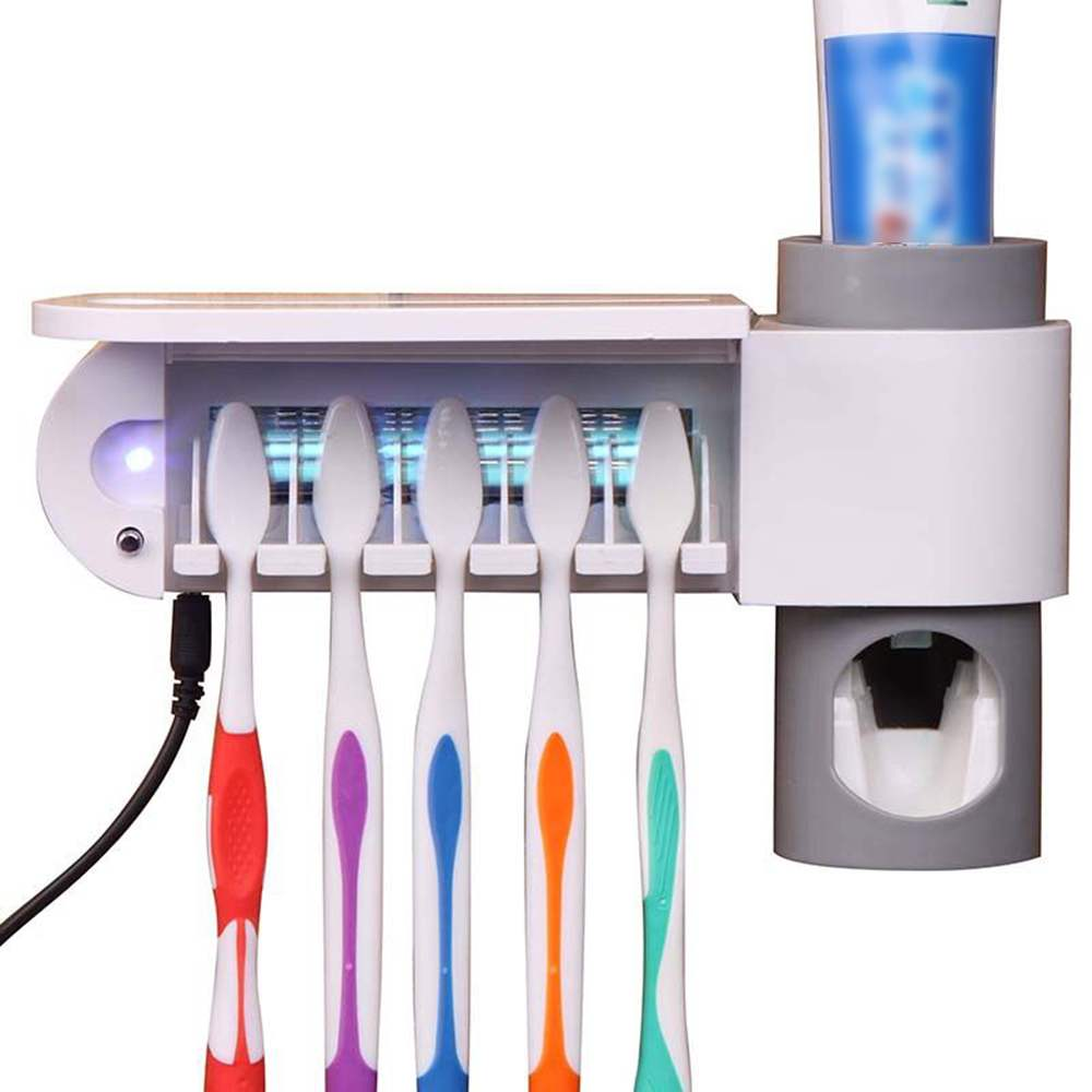 5 Toothbrush 3 in 1 UV Sterilizer Storage Holder Automatic Toothpaste Dispenser