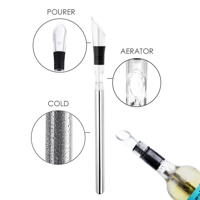 3-in-1 Stainless Steel Bottle Cooler Stick, Aerator & Pourer