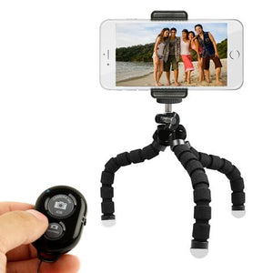 Flexible Tripod Selfie Stick with Bluetooth Clicker and Phone Holder