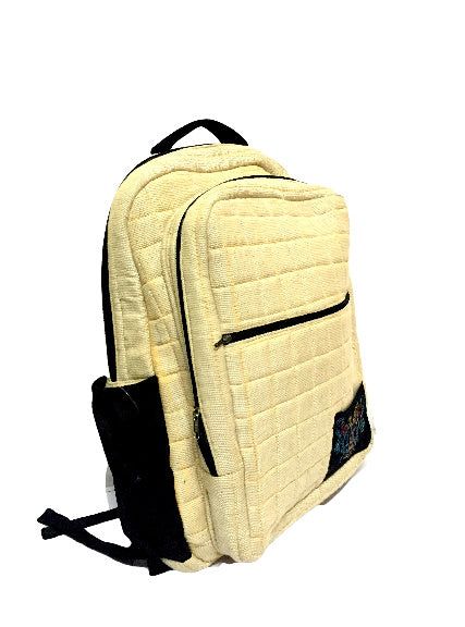Back Pack Style Laptop Bag with Aari Embroidery (Cream)
