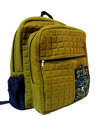 Back Pack Style Laptop Bag with Aari Embroidery (Olive Green)