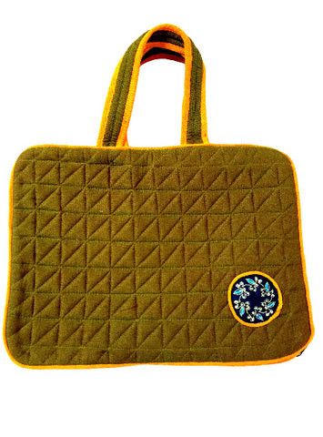 Laptop Bags with Document Holder (Olive Green & Orange)