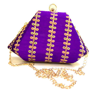 Purple Clutch with Embroidery Work