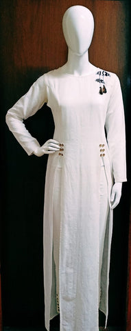 Hand Woven Princess Cut Long Kurta With Double Slits(White)