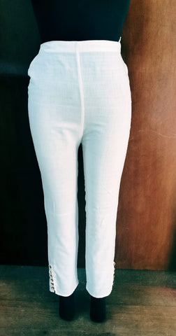 Hand Woven Cotton Button Trouser (White)