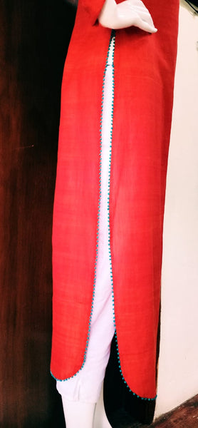 Hand Woven Cotton Long Kurta With Beaded Work(Red)