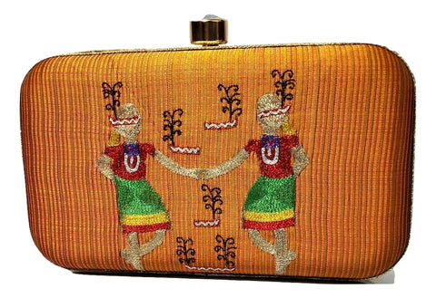 Golden Clutch with Garo Traditional Aari Work